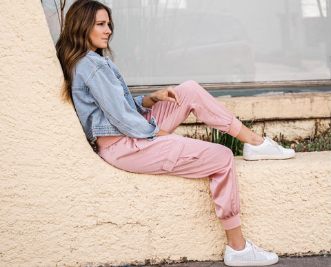 Pink silky joggers from Lush Fashion Lounge women's boutique in Oklahoma City