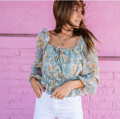 Floral top from Lush Fashion Lounge women's boutique in Oklahoma City