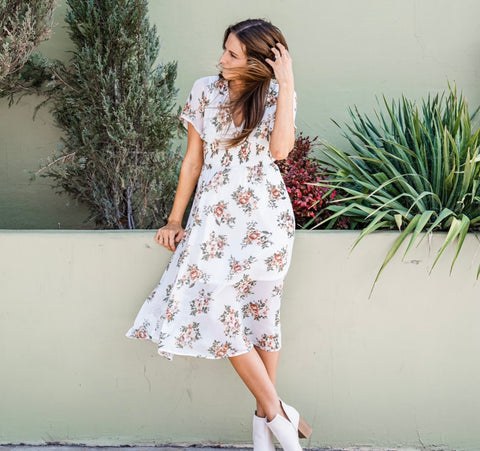 Floral dress from Lush Fashion Lounge women's boutique in Oklahoma City