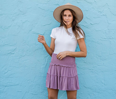 Purple ruffle skirt from Lush Fashion Lounge women's boutique in Oklahoma City