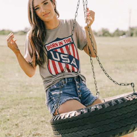 Born in the USA t-shirt from Lush Fashion Lounge women's boutique in Oklahoma City
