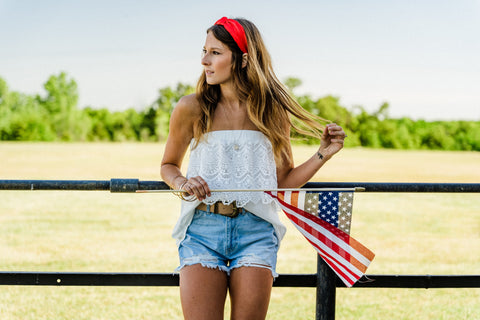 Cute 4th of July outfit from Lush Fashion Lounge women's boutique in Oklahoma City. Cute clothing in Oklahoma.