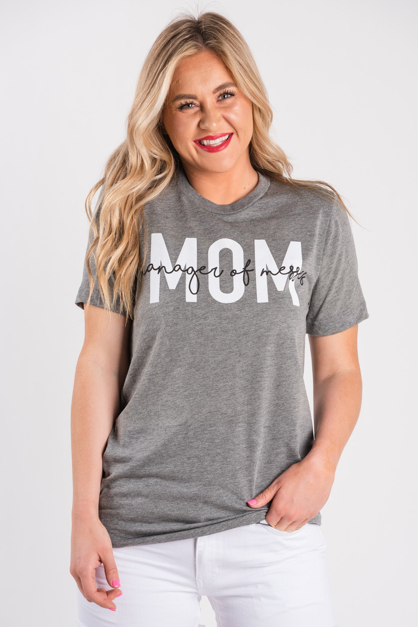 91ab31a5ea666 Grey crew neck short sleeve t-shirt with large MOM in white ink and