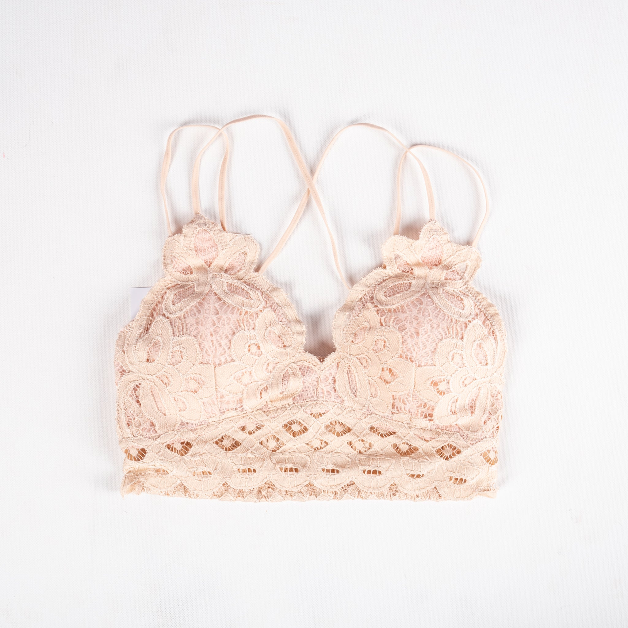 6e712742a62f2 Padded strappy lace bralette blush - Lush Fashion Lounge