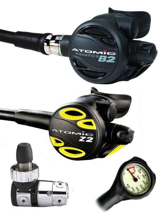 Atomic Aquatics B2 Regulator Set (DIN) / Octopus (Z2) / Free Termo Gauge