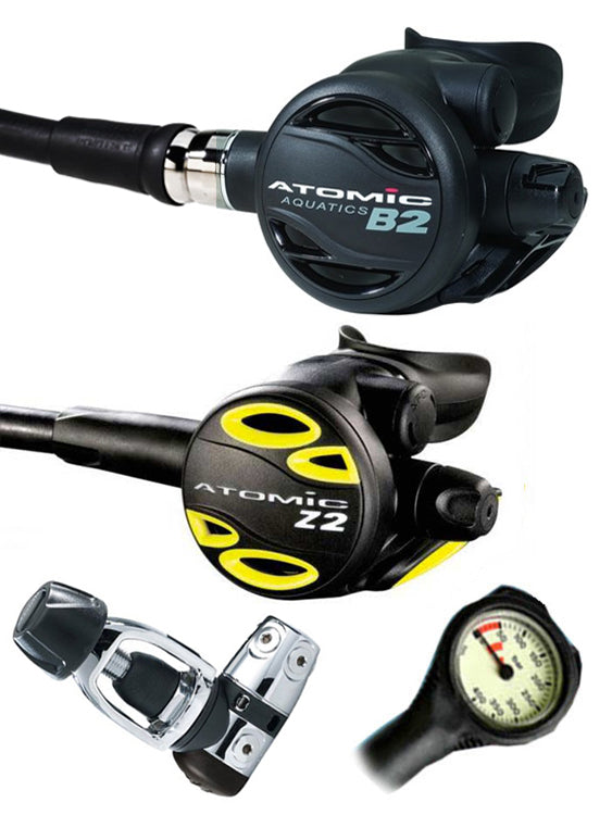 Atomic Aquatics B2 Regulator Set (Yoke) / Octopus (Z2) / Free Termo Gauge