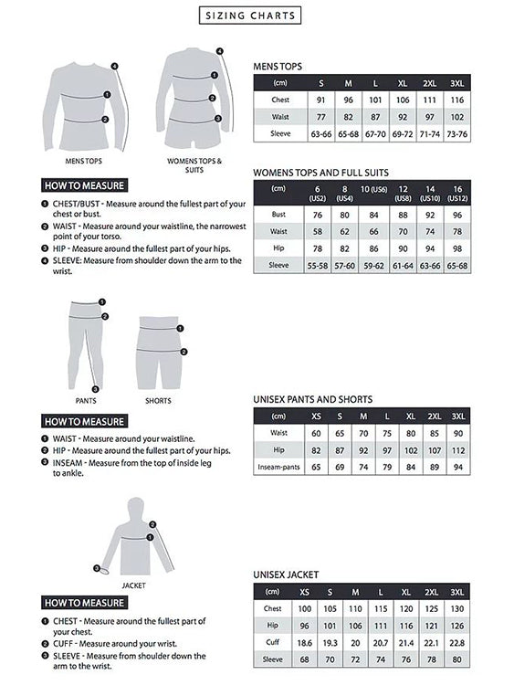 Enth Degree Sizing Chart - Tops and Pants