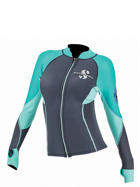 Scubapro Everflex 1.5mm Zippered Long Sleeve Top Womens Caribbean