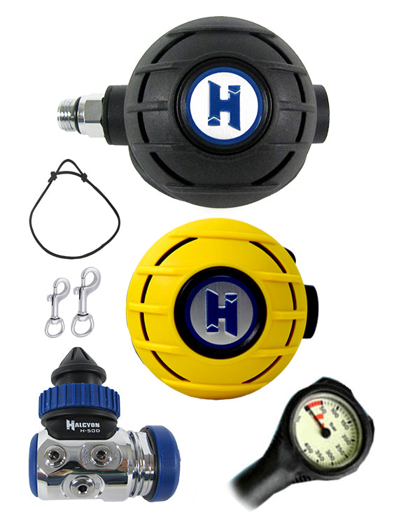 Halcyon Regulator Set: H50D (DIN) / Aura / Aura Occy & FREE Termo Gauge + Necklace