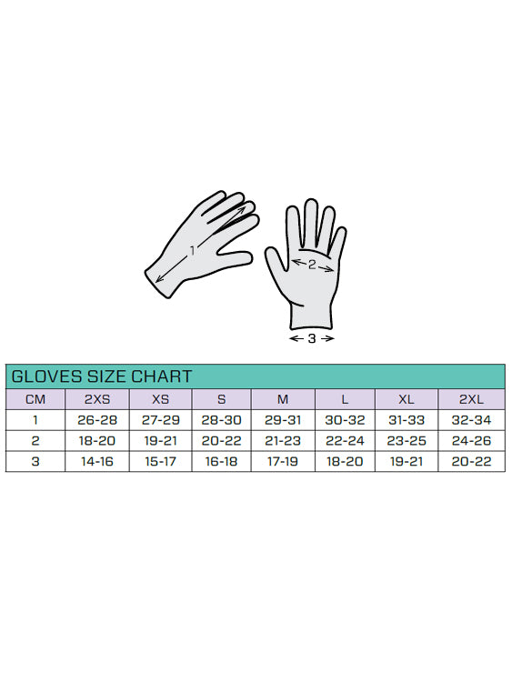 Scubapro D-Flex 2mm. Dive Gloves Size Chart