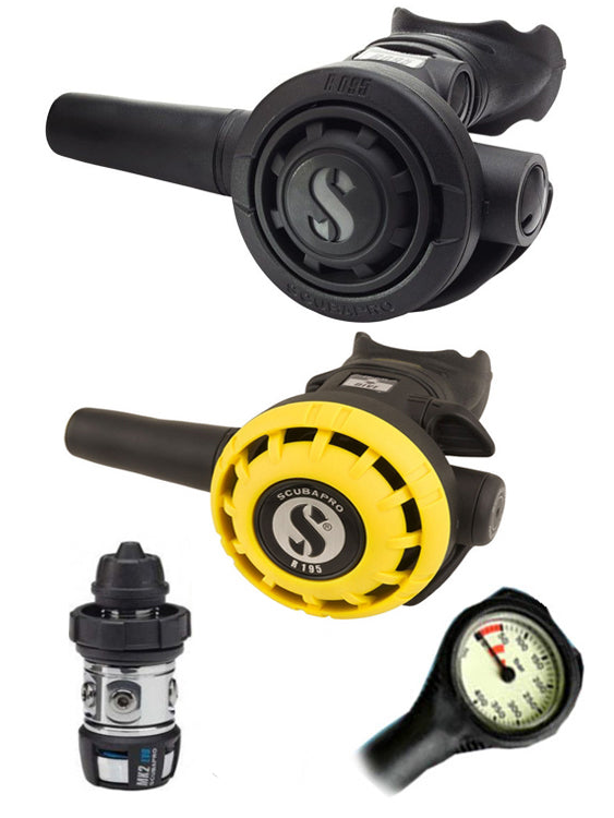 Scubapro Regulator Set: MK2 Evo DIN / R095 / R195 Octopus & Free Termo Gauge