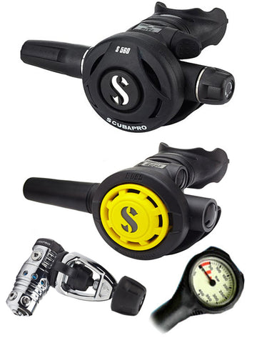 Scubapro Regulator Set: MK2 Evo (DIN or Yoke) / R095 / R-Series Octopus & Free Termo Gauge