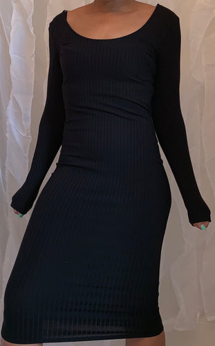Black Ribbed Midi Bodycon