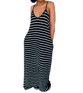 Black and White Striped Maxi
