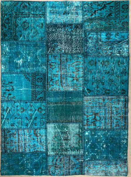 Patchwork 'over dyed' Vintage Turkish Rug