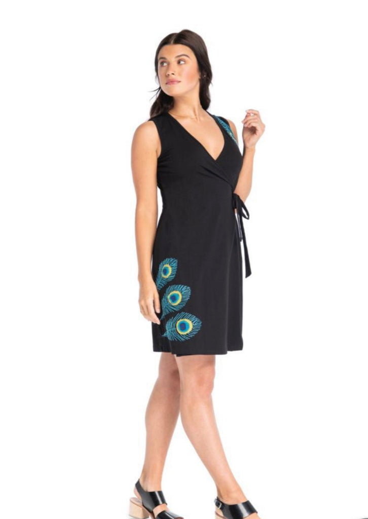 "Synergy ""peacock appliqué"" wrap dress"