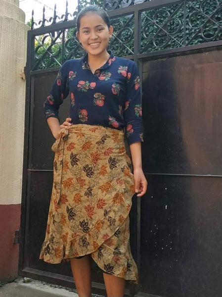 "Recycled saree wrap skirt by ""seven women"""