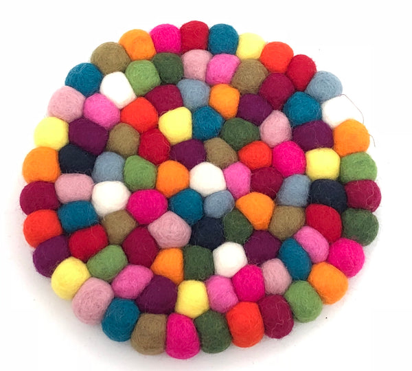 felt ball trivet - colourful