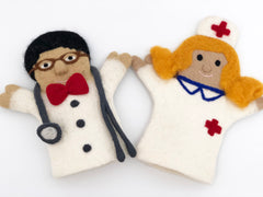 felt doctor and nurse hand puppet