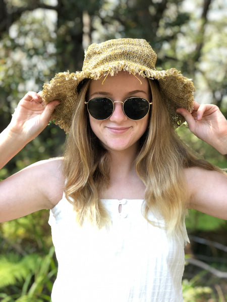 "Hemp ""festival"" hat with fringe"