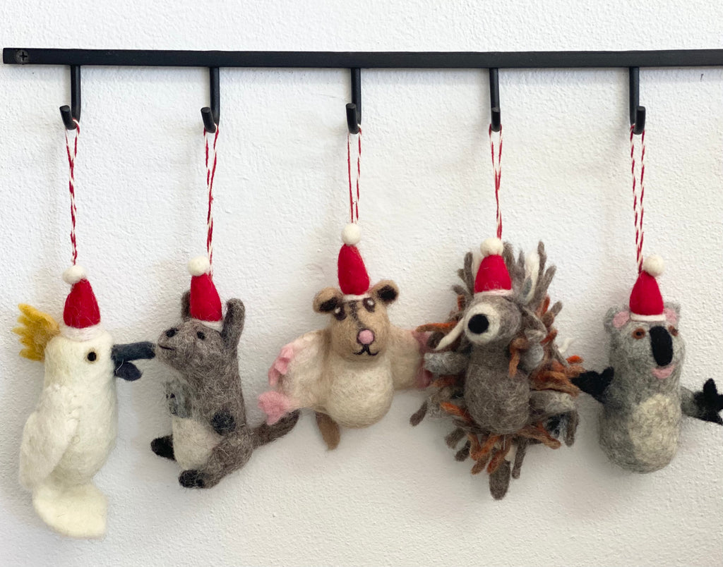 "Felt 3D ""aussie animal"" xmas decorations"