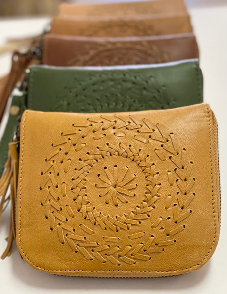 Mandala leather wallet with strap