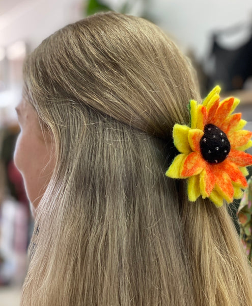 fun felt sunflower headbands and brooches