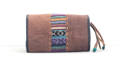 Buffalo leather/weave clutch wallet