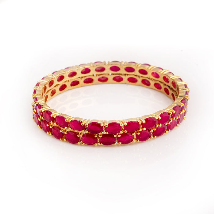 Red Imitation Stone Bangle Pair Stacked Front View