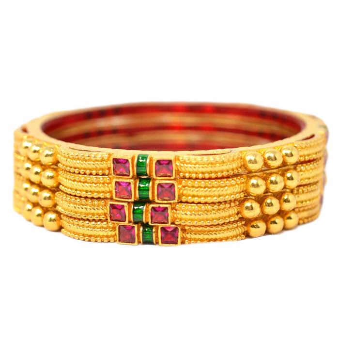 Red Stone Bangles Set Top View