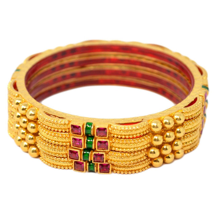 Red Stone Bangles Set Close Up