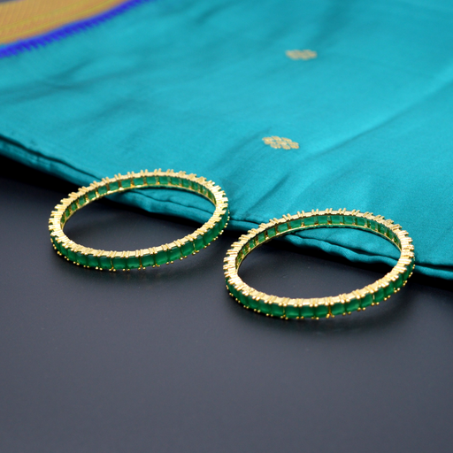 Green Stone Bangle Pair