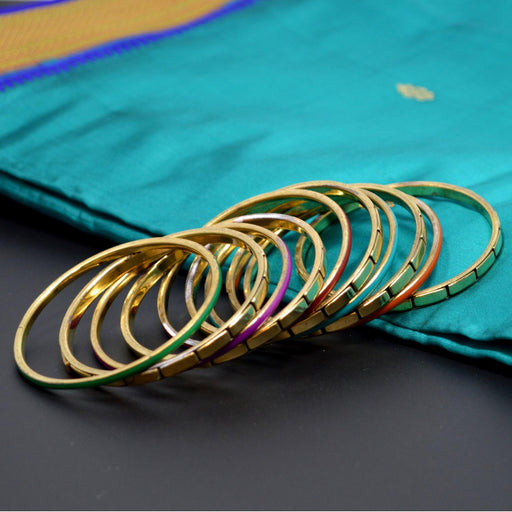 Golden Oxidised Coloured Bangles Set