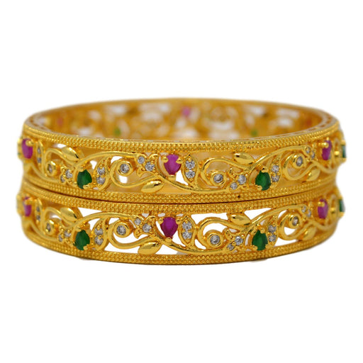 Red & Green Stone Golden Bangle Pair  Staked