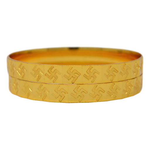 Golden Swastik Patli Bangle  Pair Stacked