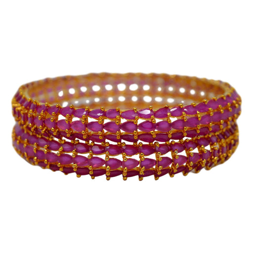 Red Stone Bangle Pair Stacked