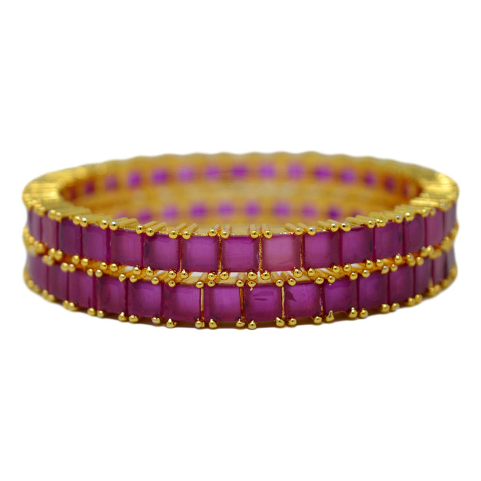 Red Stone Square Bangle Pair Stacked