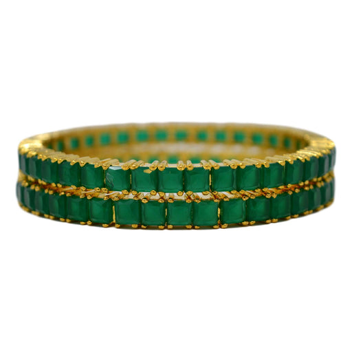 Green Stone Squre Bangle Pair Stacked