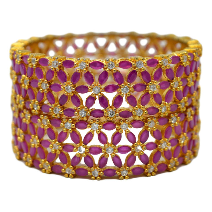 Red Stone Broad Bangle Pair Stacked