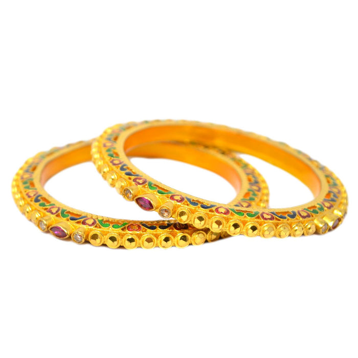 American diamond & Red Stone Meena design Bangles Top View