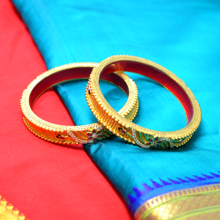 Red Green & American Diamond Temple Bangles Color