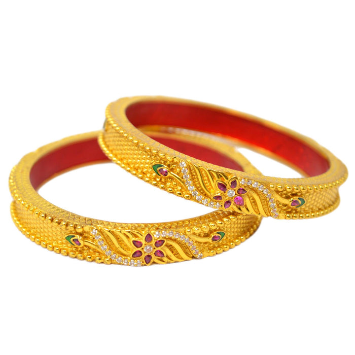 Red Green & American Diamond Temple Bangles Front View