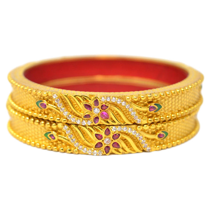 Red Green & American Diamond Temple Bangles Top View