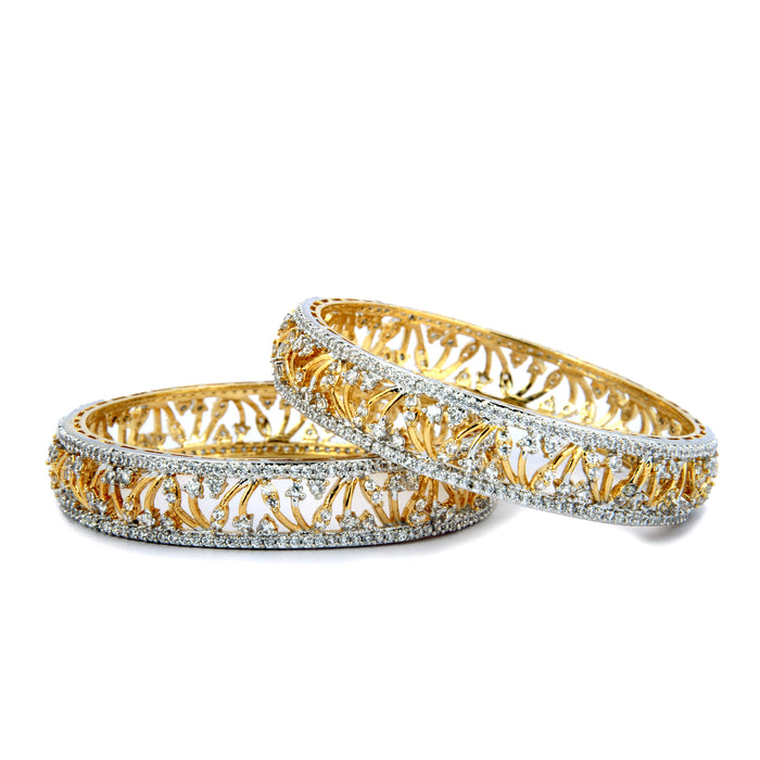 White American Diamond Stone Bangle Pair Stacked Front View
