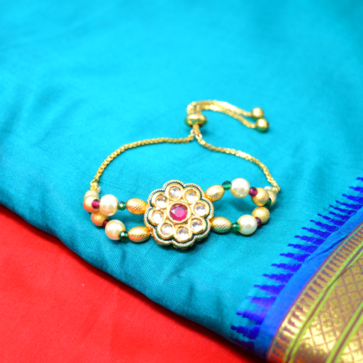 Red Green Stone & Moti Kundan Bracelet Color