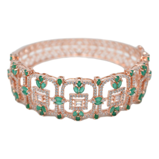 Rose Gold Emerald Bracelet Front View
