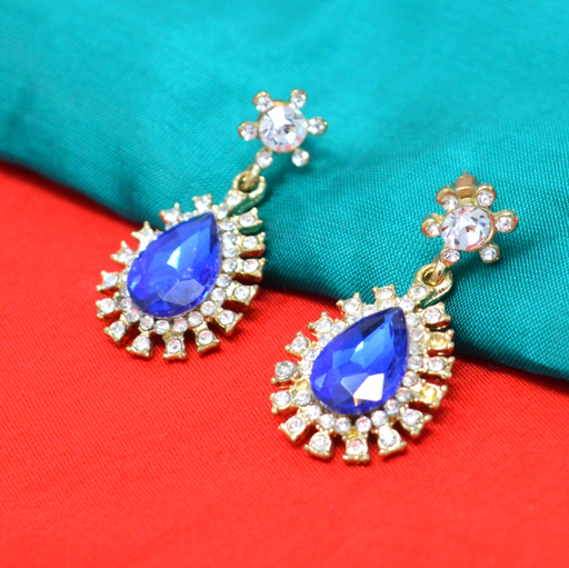 Modern Earrings Blue Stone With American Diamond