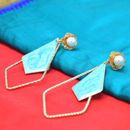 Modern Earrings Pearl with Blue Stone Veneer