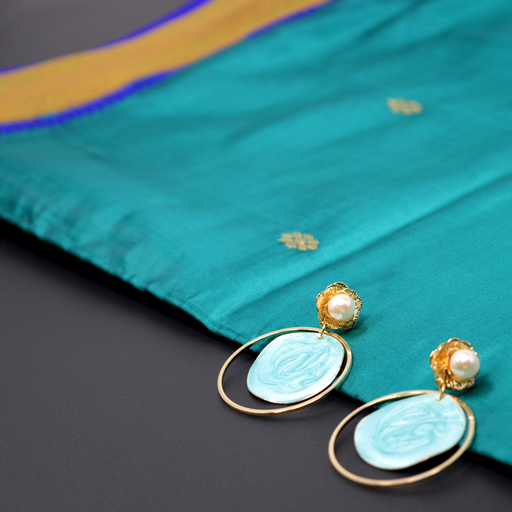 Modern Earrings with Blue Stone Veneer