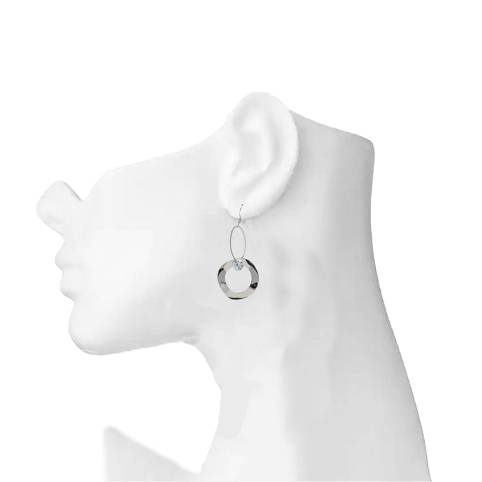 Silver American Diamond Earring On Mannequin